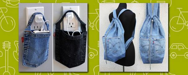 des porte-smartphones & sacs en jeans recyclés
