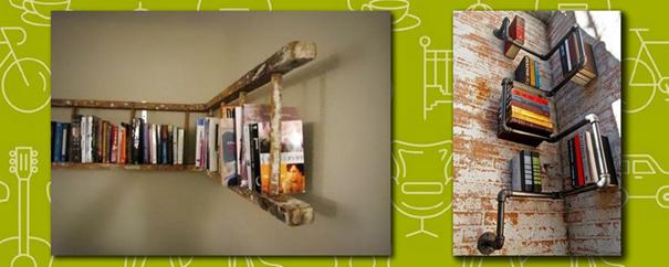 des étagères réalisées avec une vieille échelle en bois ou des tuyaux de plomberie