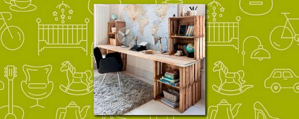 un bureau 100% upcycling réalisé entièrement avec des palettes en bois