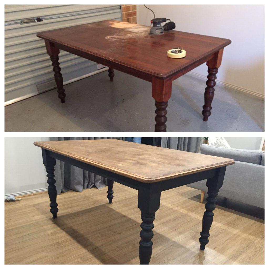 table en bois poncée et peinte